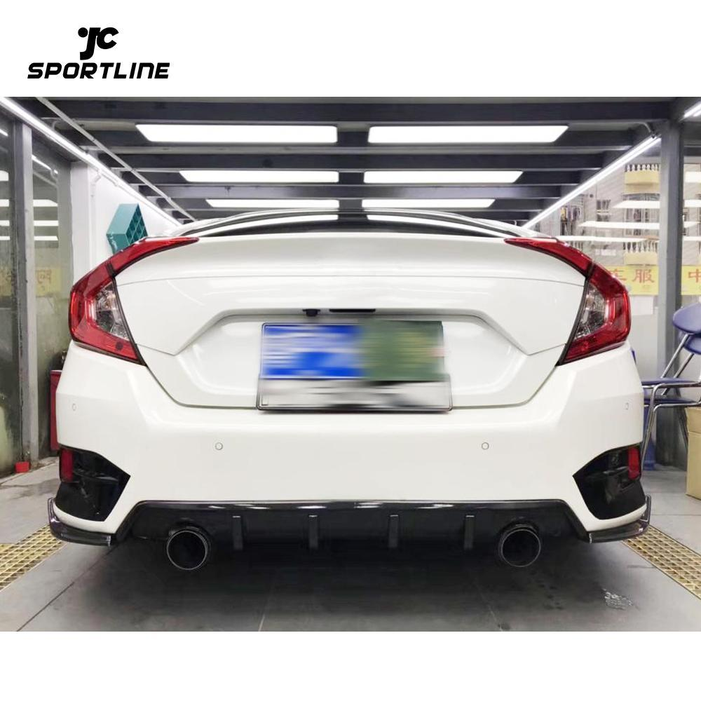 JC-WSM372 Carbon Fiber Rear Bumper Splitter Body Kit Fins Fit For Honda Civic Sedan 2016-2020