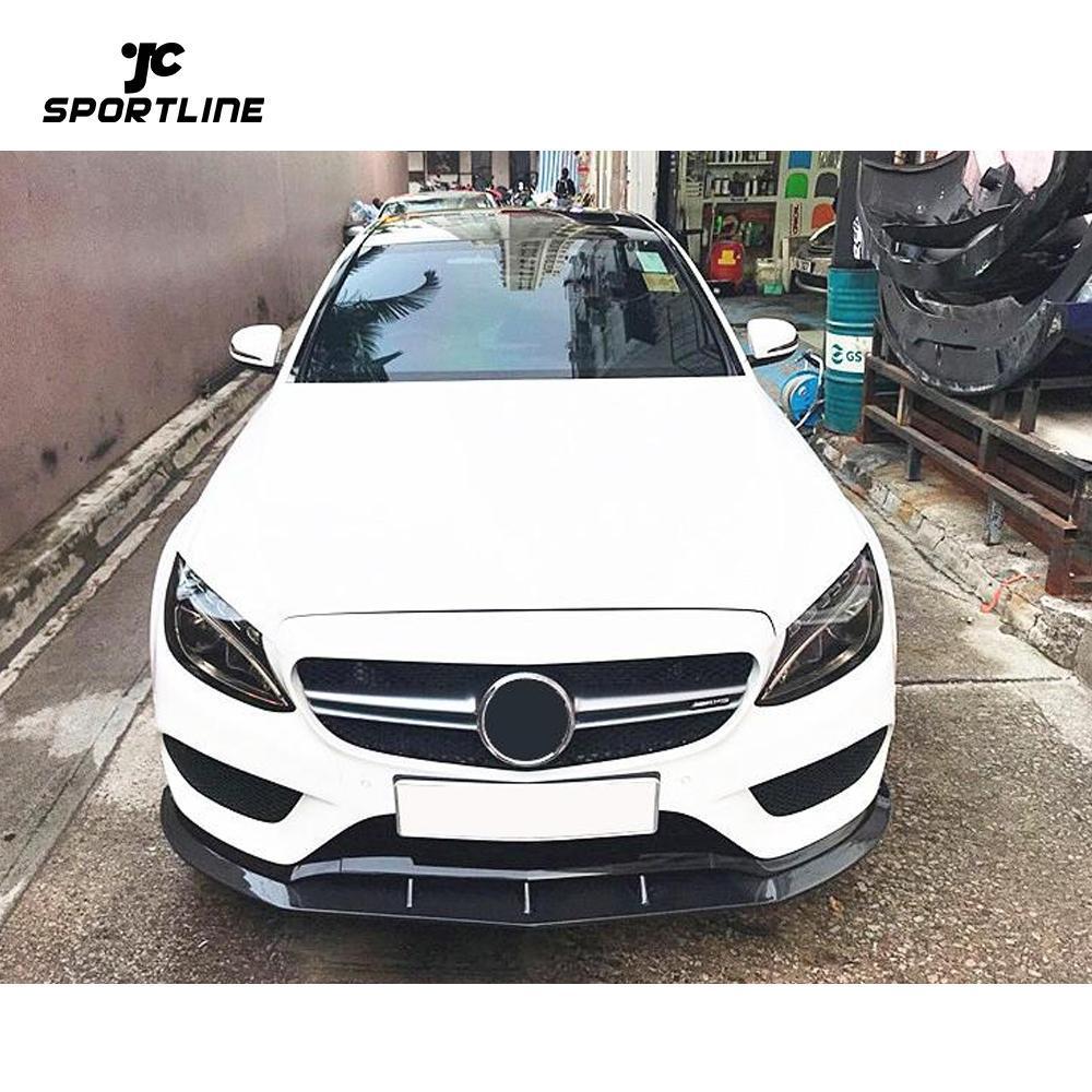 JC-WSM396 Carbon Fiber Front Bumper Lip Spoiler Guard for Mercedes-Benz C Class W205 Standard Sedan 2015 - 2019