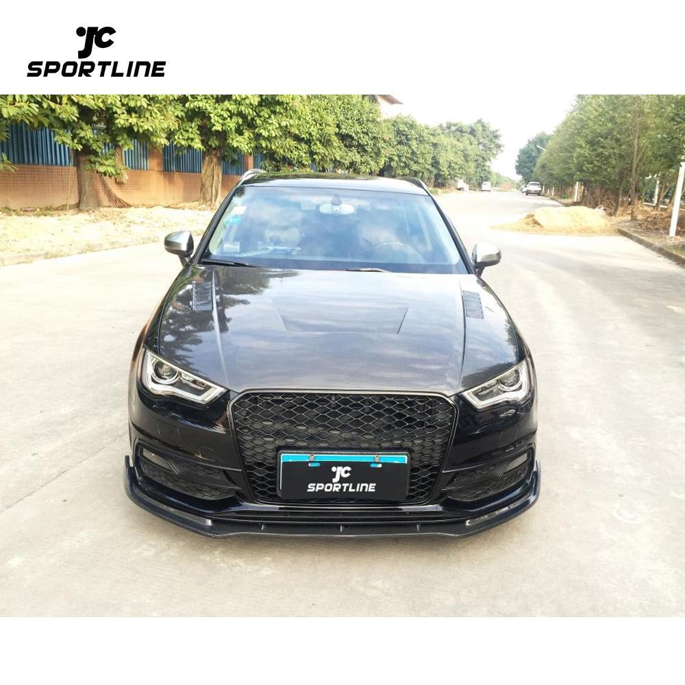 JC-WSM061 Carbon Fiber Front Bumper Lip Chin Fit for Audi A3 S Line Hatchback 2014-2015