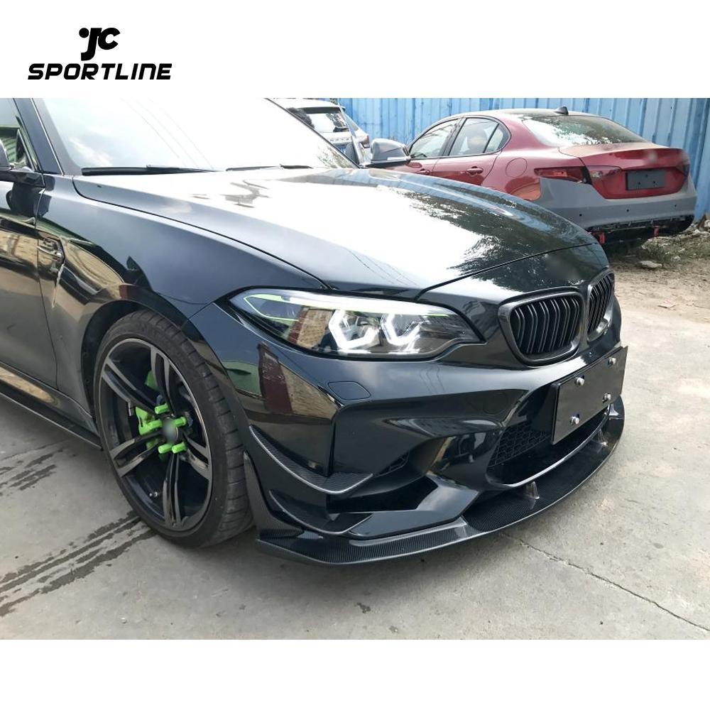 JC-WSM097 2PCS Carbon Fiber Front Bumper Splitters Apron Flap Fit For BMW M2 Coupe 16-18