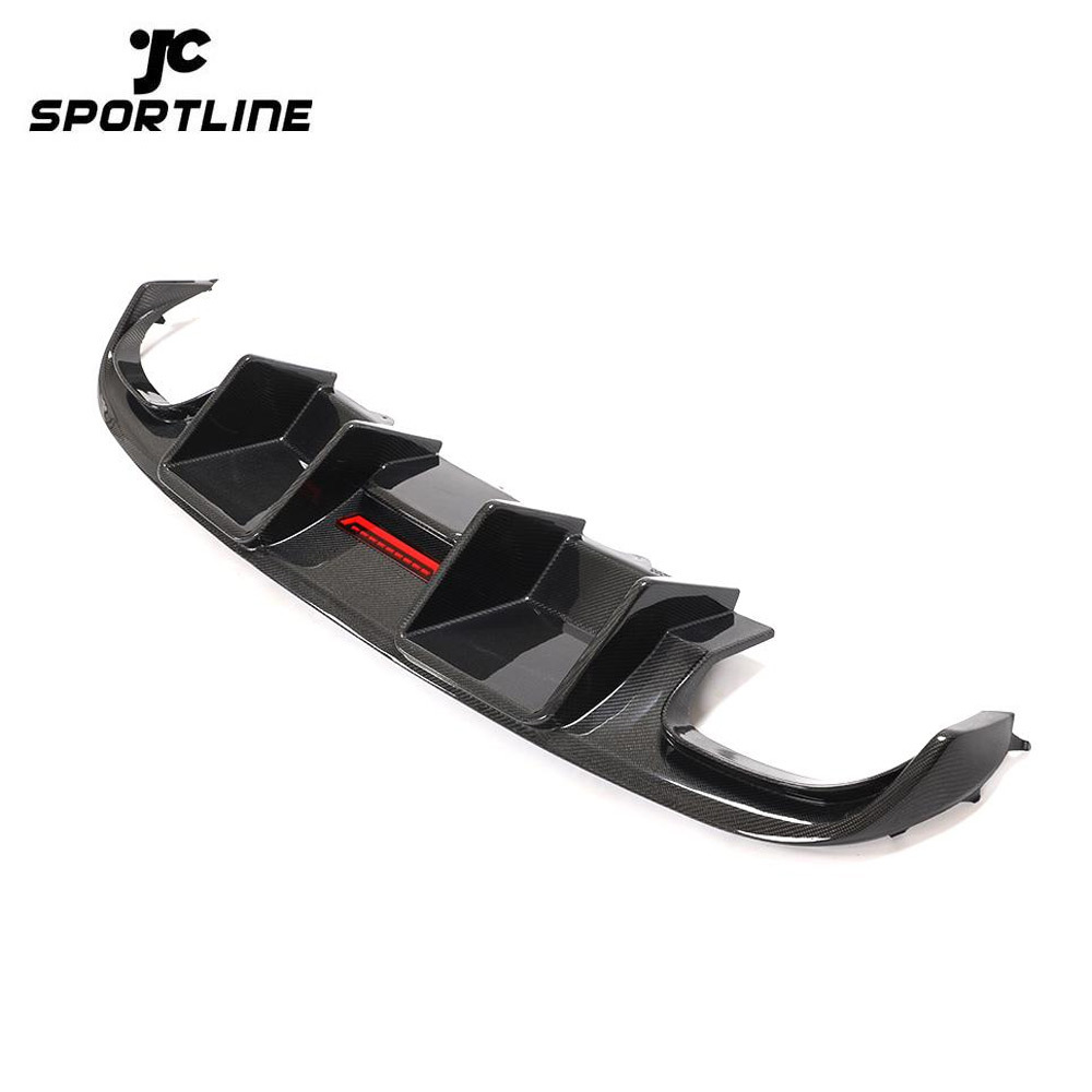 JC-HD320  Carbon Fiber Rear Bumper Diffuser with LED light for Audi A4 S4 Base Sedan 4-Door 2008-2012