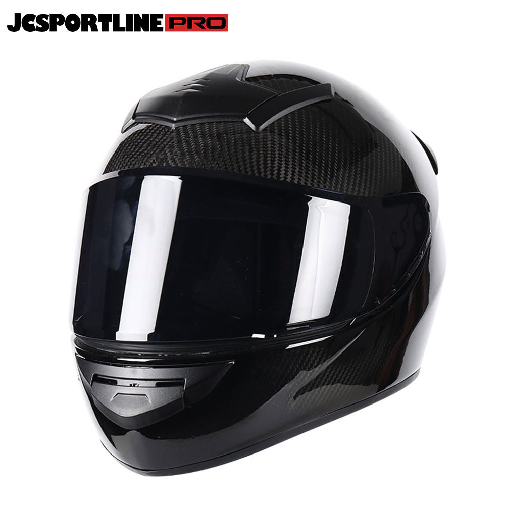 JC-LV118-B   Carbon Fiber Full Face Motorcycle Street Bike Helmet Black M L XL XXL