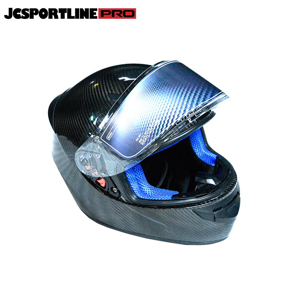 JC-LV118-S  Carbon Fiber Full Face Motorcycle Street Bike Helmet Blue M L XL XXL
