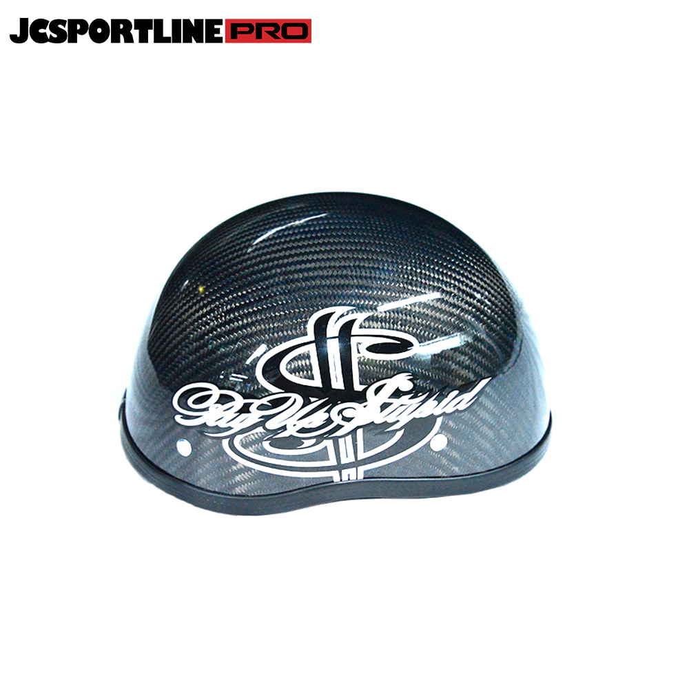 JC-YS001-BMJ  JCSPORTLINE Carbon Fiber Half Helmet for Motorcycle, Moped, Scooter and More (Gloss Black Dollar)