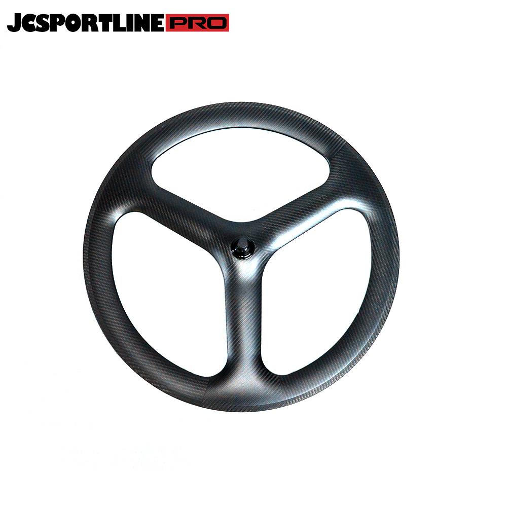 JC-DW3-TR  Carbon 700C Tri Spoke Front Wheel Road/Track Bike Wheel Customized 3 Spoke tubeless ready Rim